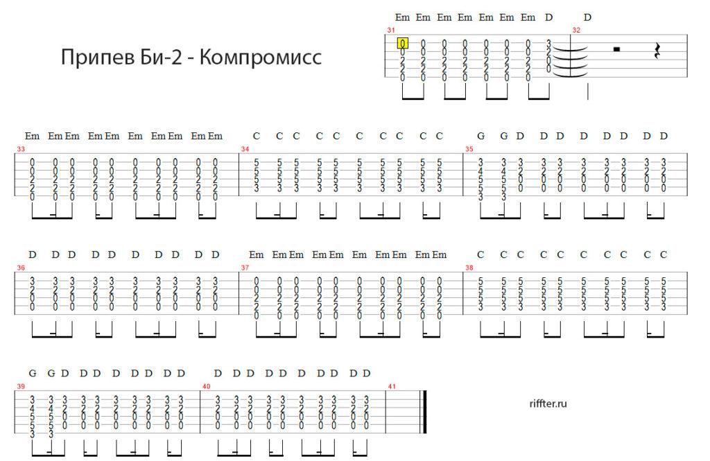 гитарный разбор би2 компромисс на riffter.ru
